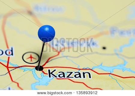 Kazan pinned on a map of Russia