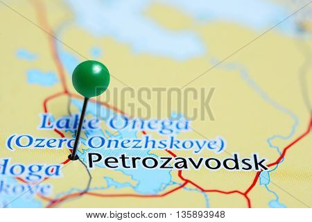 Petrozavodsk pinned on a map of Russia