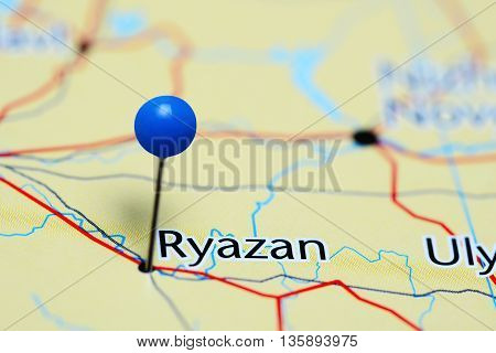 Ryazan pinned on a map of Russia