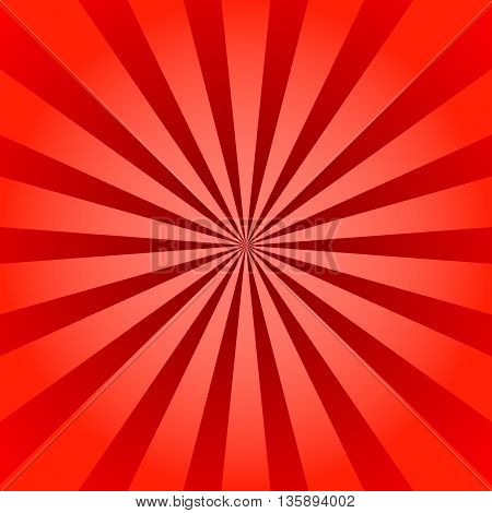 Red rays poster. Popular ray star burst background television vintage. Dark-red and light-red abstract texture with sunburst, flare, beam. Retro art design. Sun glow bright pattern Vector Illustration