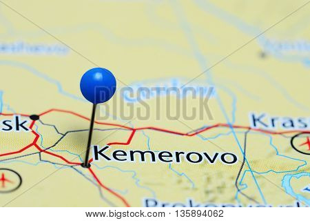 Kemerovo pinned on a map of Russia