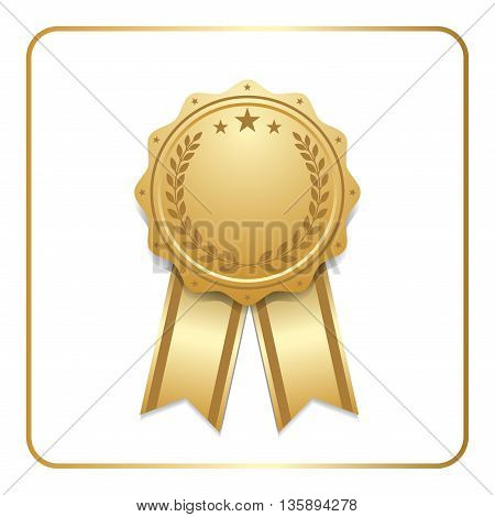 Award ribbon gold icon. Blank medal with laurel wreath isolated on white background. Stamp rosette design trophy. Golden symbol of winner, celebration, sport competition, champion. Vector illustration