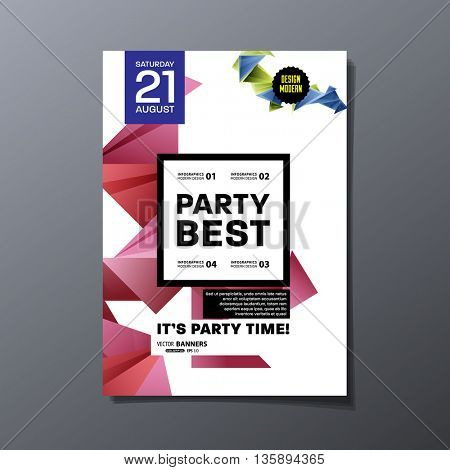 Party Flyer Template. Vector Design. Abstract Geometric Background