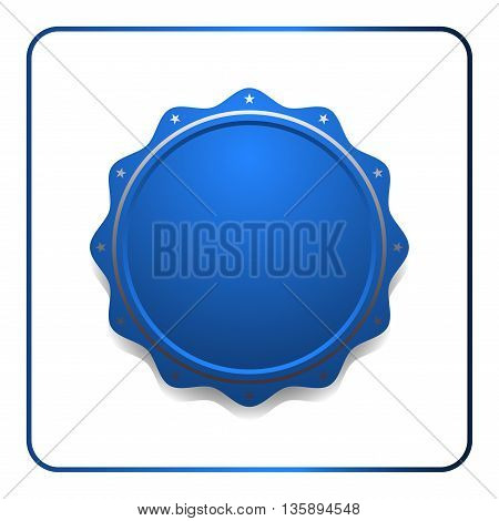 Seal award blue icon. Blank medal with stars isolated on white background. Stamp design certificate. Label emblem. Symbol of assurance, winner, guarantee and best, premium, quality Vector illustration