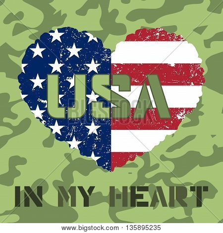 American flag as heart shaped symbol. Patriotic Typography Graphics. Mans T-shirt Printing Design. Fashion Print for sportswear apparel. Grunge and military style. Vector illustration
