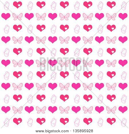 Seamless pattern in the romantic style. Suitable for packaging paper textiles postcards. For Valentine's Day Mother's Day wedding and children's party.