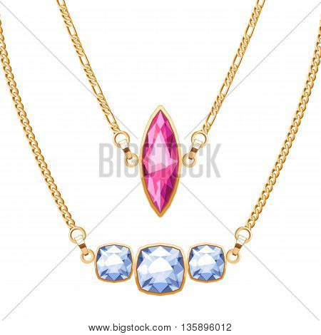 Golden chain necklaces set with ruby and diamonds gemstones pendants. Jewelry vector illustration design.