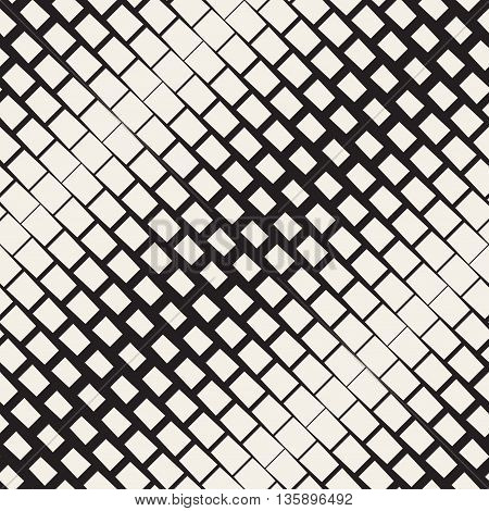 Vector Seamless Black And White Diagonal Rectangle Halftone Geometric Pattern. Abstract Geometric Background Design