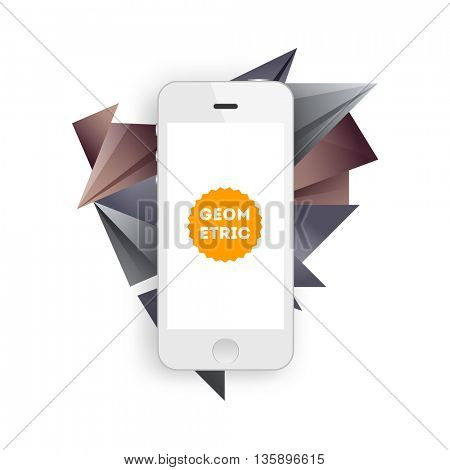Geometric Vector Background. Triangles Pattern for Business Presentations, Application Cover and Web Site Design. Mobile Phone Icon
