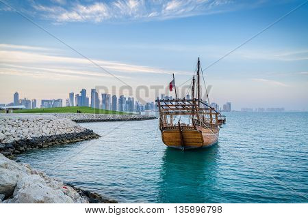 Dhows moored off Museum Park in central Doha, Qatar