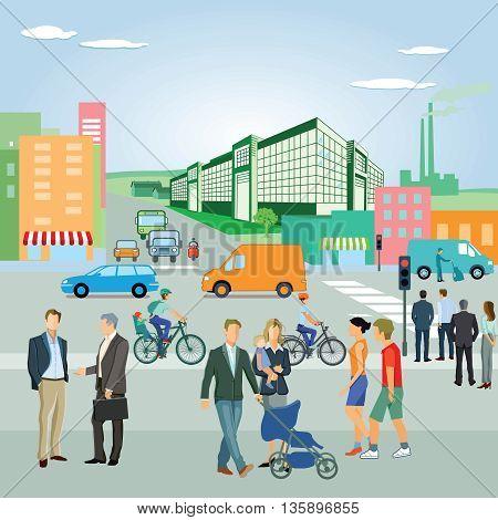 Urban Landscape with road,, road traffic, community