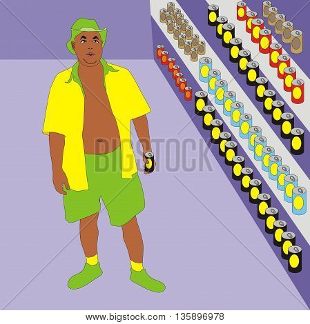 Illustration men shopping in a beer shop holiday man choosing beer cans