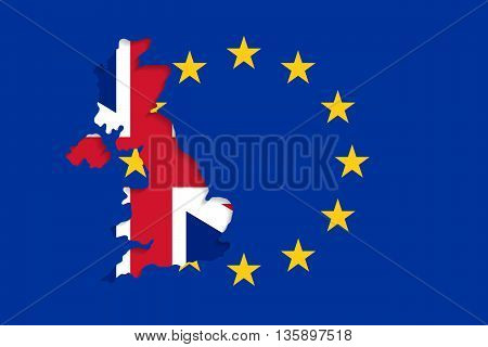 The EU flag and the UK outlines with nation flag inside. United Kingdom withdrawal from the European Union. Brexit concept