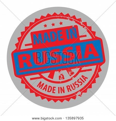 Abstract grunge rubber stamp with the text Made in Russia written inside the stamp, vector illustration