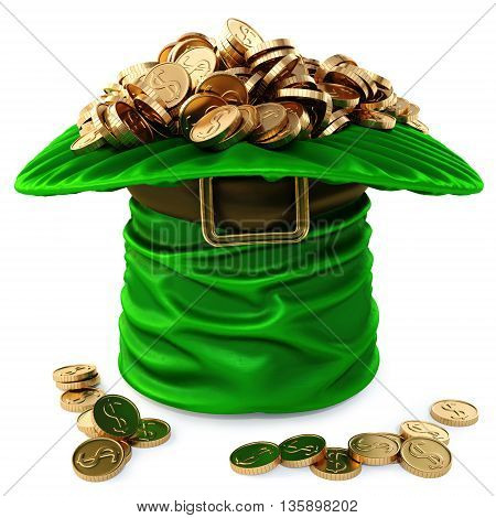 Leprechaun hat filled with gold. isolated on white background. 3D illustration.