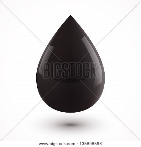Black vector oil drop isolated on white background