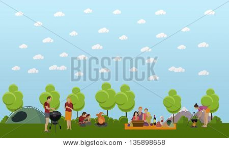 Summer recreation concept vector banner in flat style. People camping in park.
