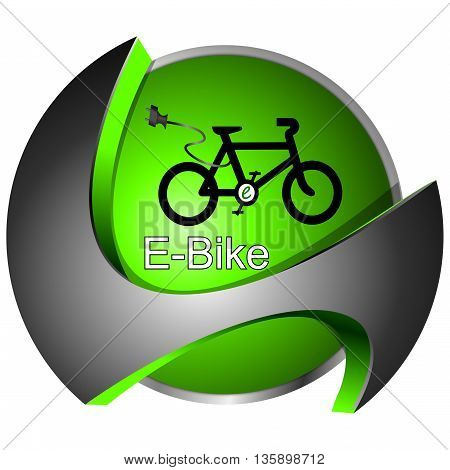 decorative glossy green E-Bike Button - 3D illustration
