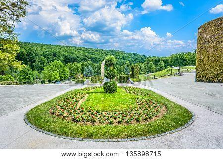 Decoration of entrance in Mirogoj cemetery in Zagreb landmark, capital city of Croatia.