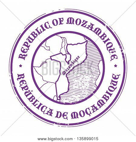 Grunge rubber stamp with the name and map of Mozambique, vector illustration