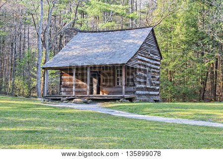 Carter Shields Cabin in Cades Cove Great Smoky Mountains National Park Tennessee.