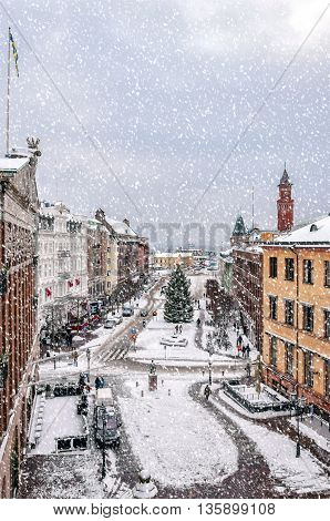 HELSINGBORG SWEDEN - JANUARY 14 2016: An elevated view of the swedish city of Helsingborg during some wintry weather conditions.