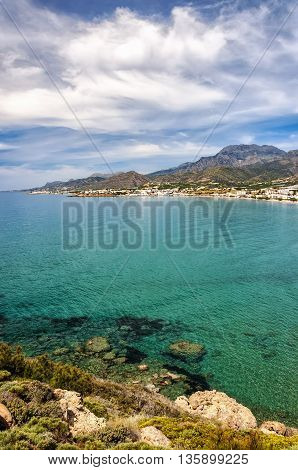 A view of the coastline at Makrygialos on the Greek island of Crete.