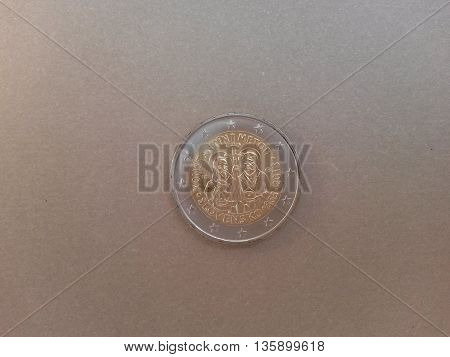 Euro coin currency of the European Union