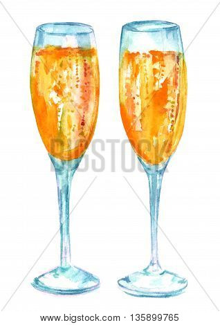 A watercolor drawing of two flute glasses of sparkling wine hand painted on white background