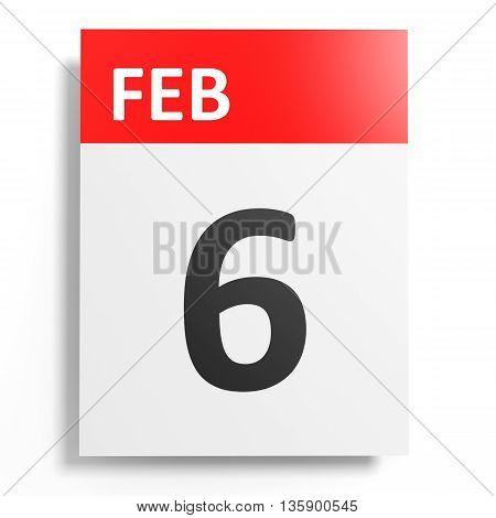 Calendar On White Background. 6 February.