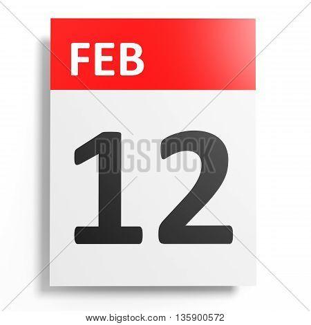 Calendar On White Background. 12 February.