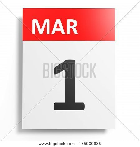 Calendar On White Background. 1 March.
