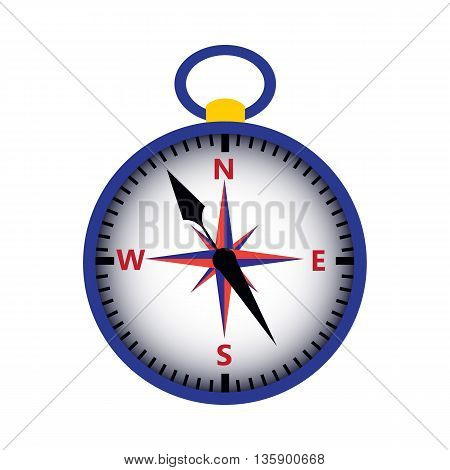 Compass isolated over white. Vector illustration of measuring tool. Wind rose.