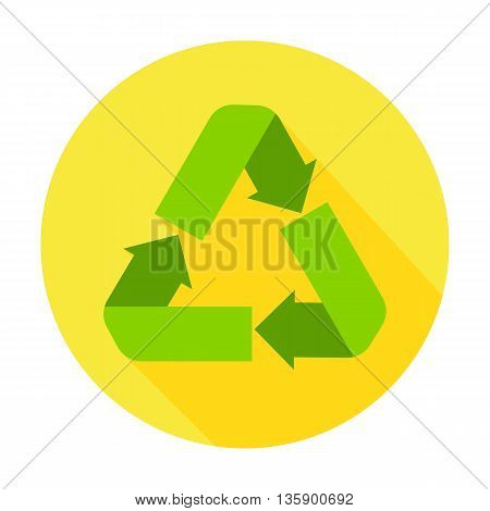 Ecology Recycling flat circle icon. Vector illustration of recycling on yellow.