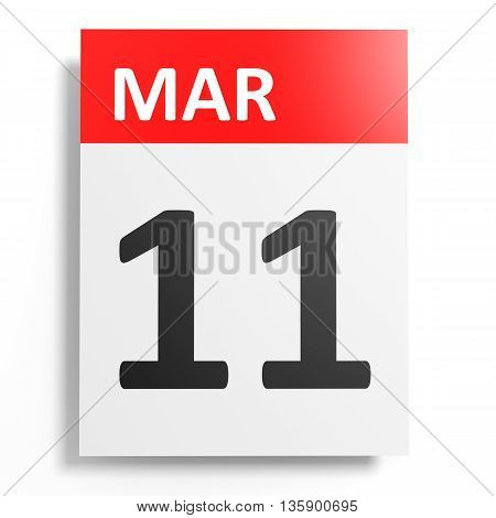 Calendar On White Background. 11 March.