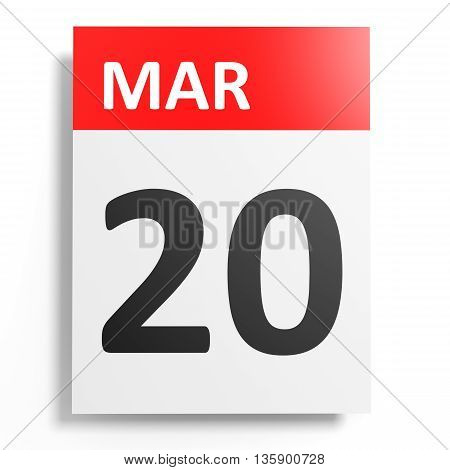 Calendar On White Background. 20 March.