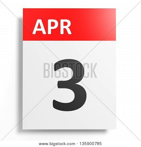 Calendar On White Background. 3 April.