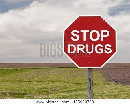 Drug Awareness Stop Sign Along A Rural Road