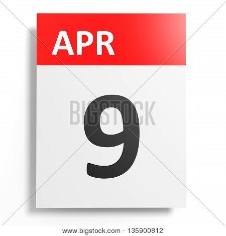 Calendar On White Background. 9 April.