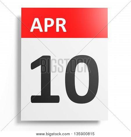 Calendar On White Background. 10 April.