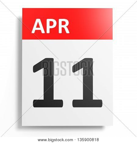 Calendar On White Background. 11 April.