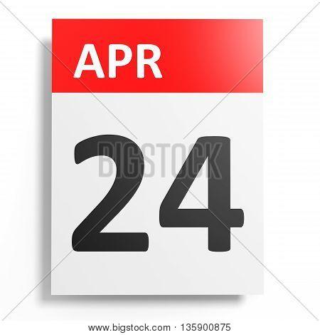 Calendar On White Background. 24 April.
