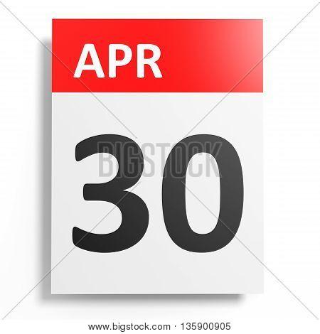 Calendar On White Background. 30 April.