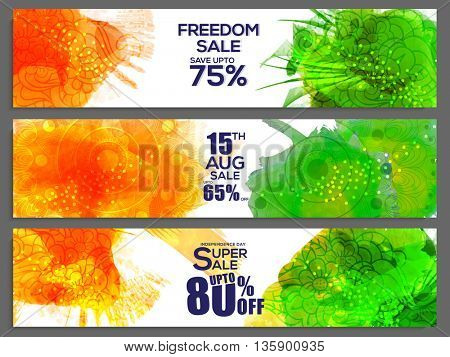 Creative website header or banner set for Indian Independence Day, Freedom Sale Header, Special Discount Offers, Beautiful Sale Background with abstarct splash and floral decoration.