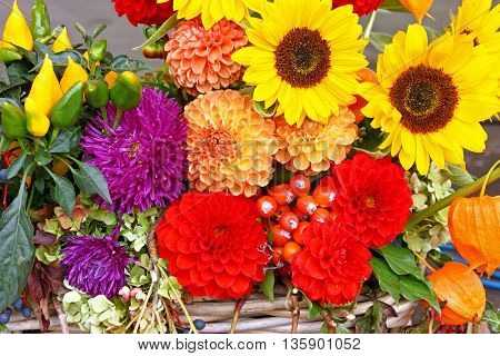 Decoration of a mixture of various flowers natural background