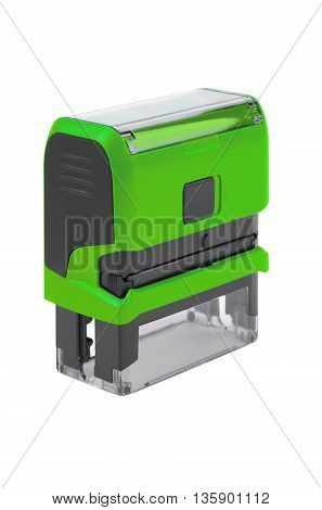 Hand rectangular automatic stamp matte green. Isolated on white background.