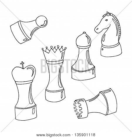 Set of chess. International Chess day. Hand drawn vector stock illustration. Black and white whiteboard drawing.
