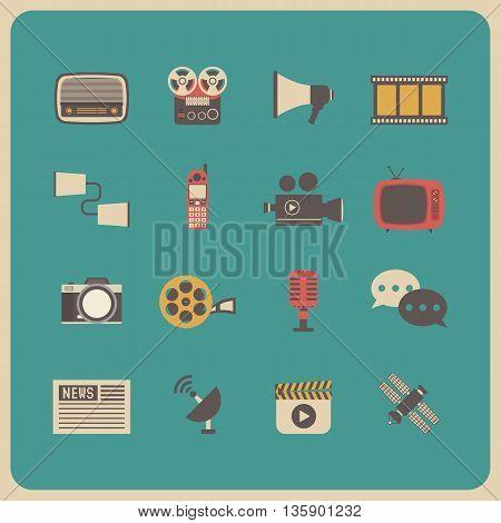 set of retro communication icon old technology