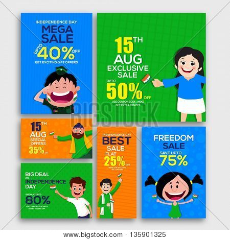 15 August, Independence Day Sale Banner Set, Mega Sale with 40% Off, Exclusive Sale, Best Sale, Freedom Sale, Sale Background with cute characters.