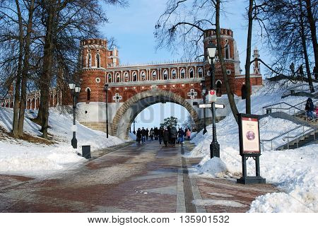 MOSCOW - FEBRUARY 28 2016: Architecture of Tsaritsyno park in Moscow in winter. Color photo. Popular touristic landmark.